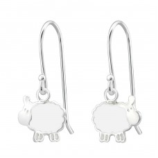Sheep - 925 Sterling Silver Earrings for Children A4S19246