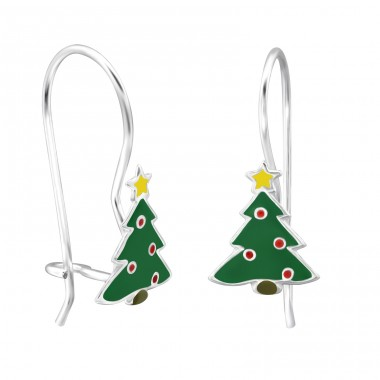 Christmas Tree - 925 Sterling Silver Earrings for Children A4S28647