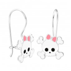 Skull - 925 Sterling Silver Earrings for Children A4S28662