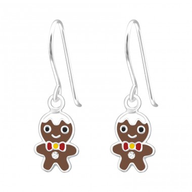 Hanging Gingerbread - 925 Sterling Silver Earrings for Children A4S41488