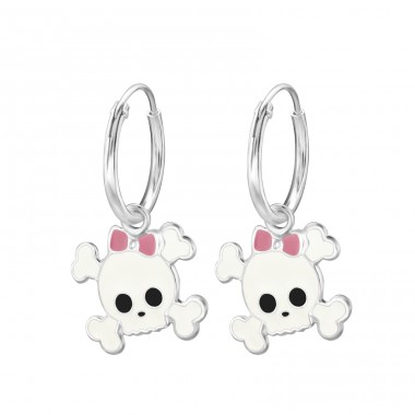Skull - 925 Sterling Silver Children Hoops A4S13522