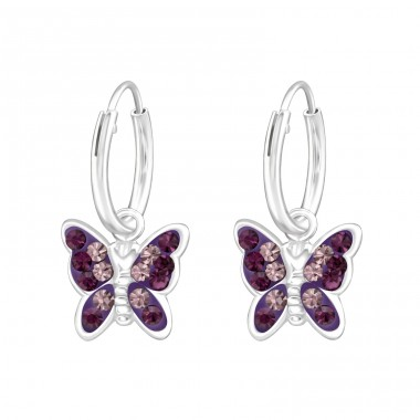 Butterfly - 925 Sterling Silver Children Hoops A4S20032