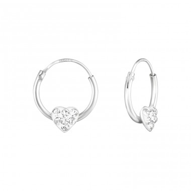 Heart - 925 Sterling Silver Children Hoops A4S21961