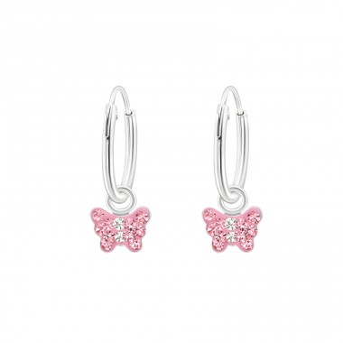 Butterfly - 925 Sterling Silver Children Hoops A4S22296
