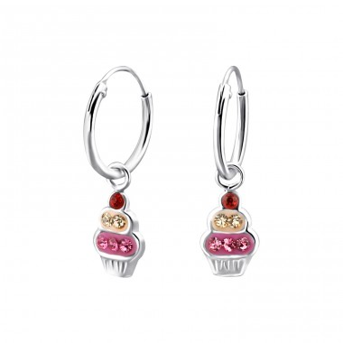 Cupcake - 925 Sterling Silver Children Hoops A4S22297