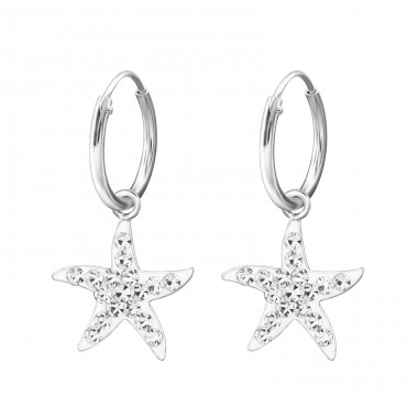 Star - 925 Sterling Silver Children Hoops A4S22597