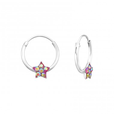Star - 925 Sterling Silver Children Hoops A4S24236