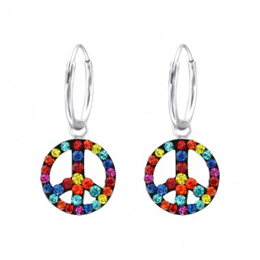 Peace - 925 Sterling Silver Children Hoops A4S24524