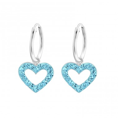Heart - 925 Sterling Silver Children Hoops A4S24991