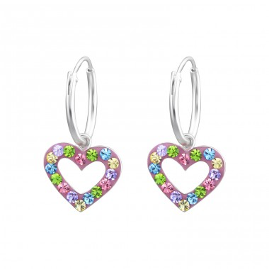 Heart - 925 Sterling Silver Children Hoops A4S24993