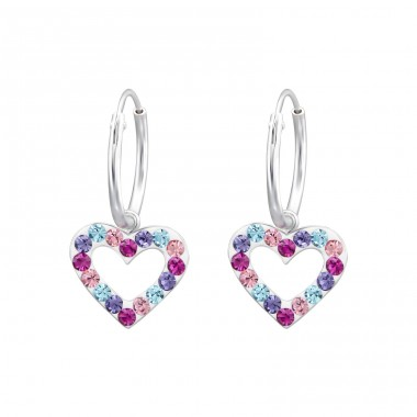 Hanging Heart - 925 Sterling Silver Children Hoops A4S24994