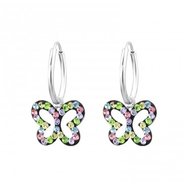 Butterfly - 925 Sterling Silver Children Hoops A4S24997