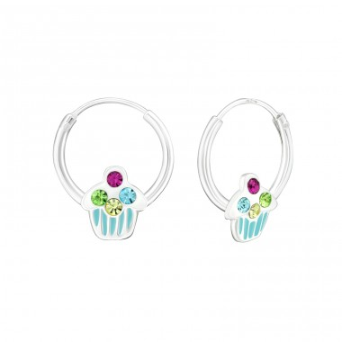Cupcake - 925 Sterling Silver Children Hoops A4S25445