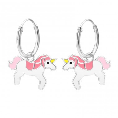 Unicorn - 925 Sterling Silver Children Hoops A4S26221