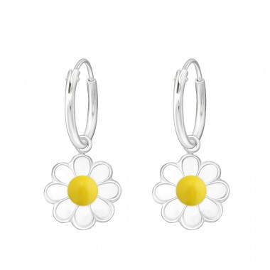 Flower - 925 Sterling Silver Children Hoops A4S27559
