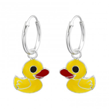 Duck - 925 Sterling Silver Children Hoops A4S27560