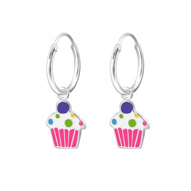 Cupcake - 925 Sterling Silver Children Hoops A4S27561