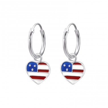 Hanging Usa Flag - 925 Sterling Silver Children Hoops A4S28022