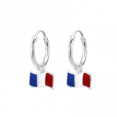 France Flag - 925 Sterling Silver Children Hoops A4S28023