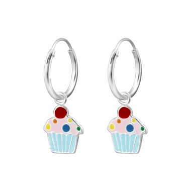 Hanging Cupcake - 925 Sterling Silver Children Hoops A4S28030