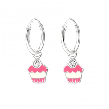 Cupcake - 925 Sterling Silver Children Hoops A4S28031