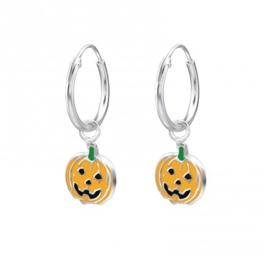 Pumpkin - 925 Sterling Silver Children Hoops A4S28032