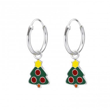Christmas Tree - 925 Sterling Silver Children Hoops A4S28033