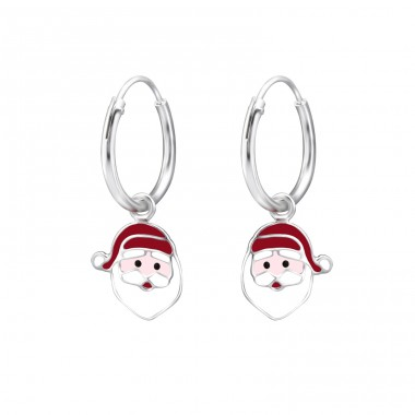 Santa Claus - 925 Sterling Silver Children Hoops A4S28034