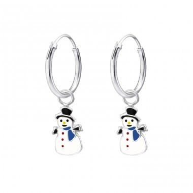 Snowman - 925 Sterling Silver Children Hoops A4S28035