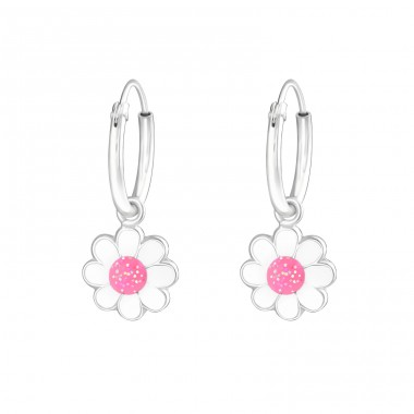 Flower - 925 Sterling Silver Children Hoops A4S28037