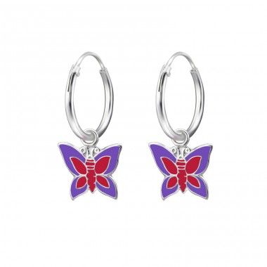 Butterfly - 925 Sterling Silver Children Hoops A4S28039