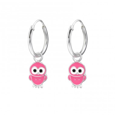 Hanging Owl - 925 Sterling Silver Children Hoops A4S28040