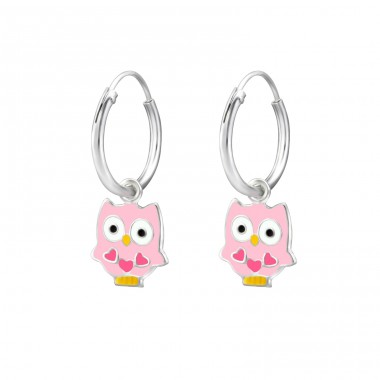 Owl - 925 Sterling Silver Children Hoops A4S28042