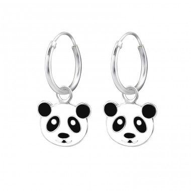 Panda - 925 Sterling Silver Children Hoops A4S28047