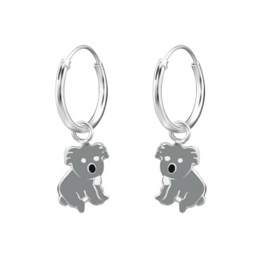 Koala Bear - 925 Sterling Silver Children Hoops A4S28048