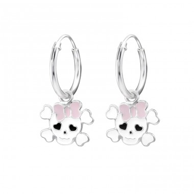 Skull - 925 Sterling Silver Children Hoops A4S28051