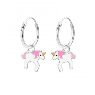 Unicorn - 925 Sterling Silver Children Hoops A4S28052