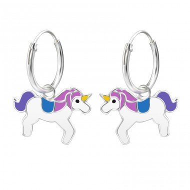 Unicorn - 925 Sterling Silver Children Hoops A4S28053