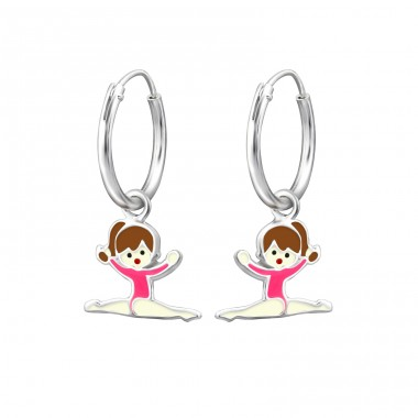 Gymnastics Girl - 925 Sterling Silver Children Hoops A4S28055