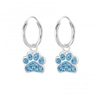 Paw Print - 925 Sterling Silver Children Hoops A4S28056