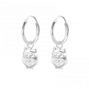 Owl - 925 Sterling Silver Children Hoops A4S28057