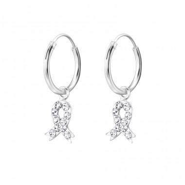 Ribbon - 925 Sterling Silver Children Hoops A4S28059