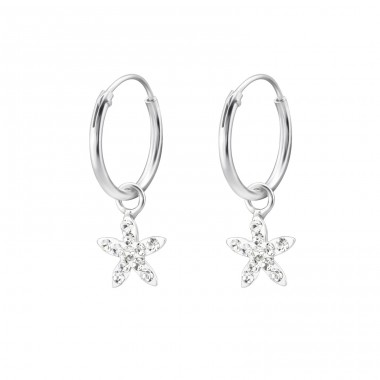 Flower - 925 Sterling Silver Children Hoops A4S28060