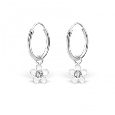 Flower - 925 Sterling Silver Children Hoops A4S28061