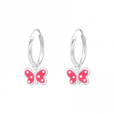 Butterfly - 925 Sterling Silver Children Hoops A4S28634