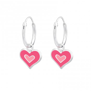 Heart - 925 Sterling Silver Children Hoops A4S28635