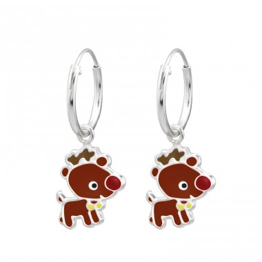 Reindeer - 925 Sterling Silver Children Hoops A4S28636