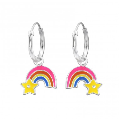 Rainbow - 925 Sterling Silver Children Hoops A4S28637