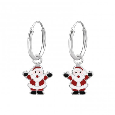 Santa Claus - 925 Sterling Silver Children Hoops A4S28638