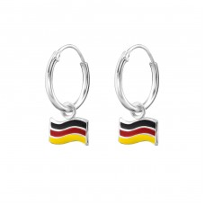 Germany Flag - 925 Sterling Silver Children Hoops A4S28675